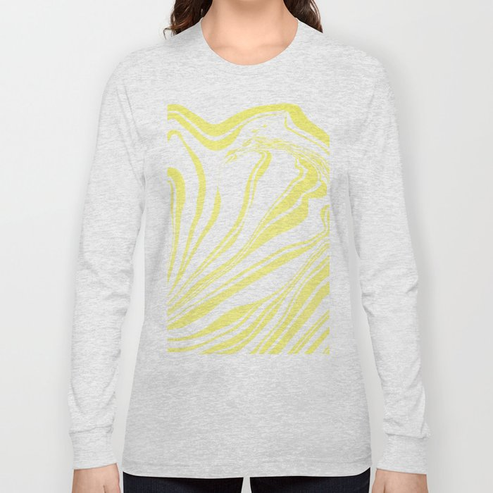 Yellow Marble Ink Watercolor Long Sleeve T-shirt