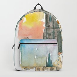 Tyn Cathedral In Prague Czech Republic Impressionistic View Backpack