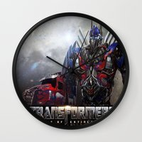 transformers Wall Clocks featuring transformers  , transformers  games, transformers  blanket, transformers  duvet cover by ira gora