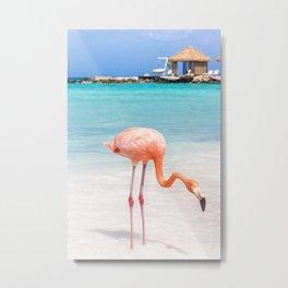 Tropical Island, Pink Flamingo Metal Print