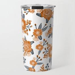Texas orange and white university texans longhorns college football sports florals Travel Mug