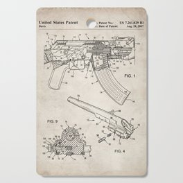 Ak-47 Rifle Patent - Ak-47 Firing Mechanism Art - Antique Cutting Board
