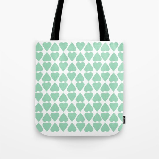 Diamond Hearts Repeat Mint Tote Bag