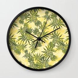Pineapple Camo and Pineapple Luau Hawaiian Hula Girl Prints Wall Clock