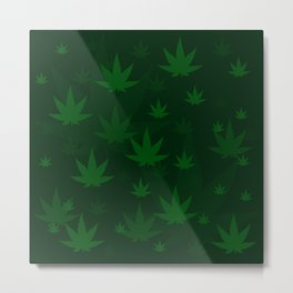 Pattern with cannabis leaf shapes on a green background. Leaf of a marijuana plant. Metal Print