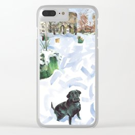A curious Coco waits to play in the snow, Touro Park, Newport Clear iPhone Case