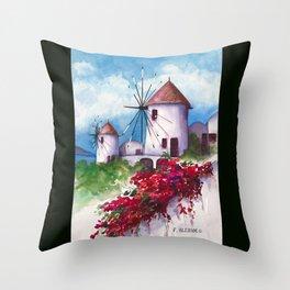 Windmills of Santorini Throw Pillow