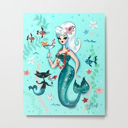 Martini Mermaid Platinum Blonde Metal Print