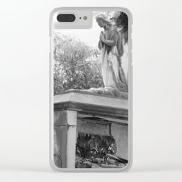 Old broken grave with angel Clear iPhone Case