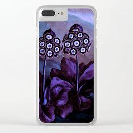 Deep Purple Blue Auriculas : Temple of Flora Clear iPhone Case