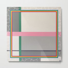 Green line - color square Metal Print