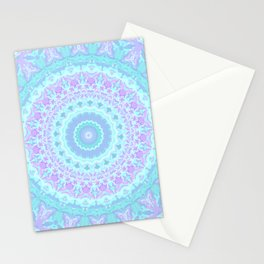 Cyan, Turquoise, and Purple Kaleidoscope Stationery Cards