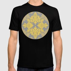 Golden Folk - doodle pattern in yellow & grey Black Mens Fitted Tee MEDIUM
