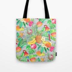 Tropical Paradise Fruit & Parrot Pattern Tote Bag