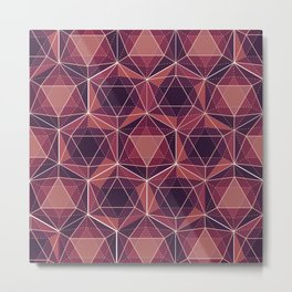 Purple Icosahedron Pattern Metal Print