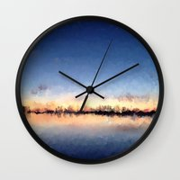 skyline Wall Clocks featuring Skyline by kelly*n photography
