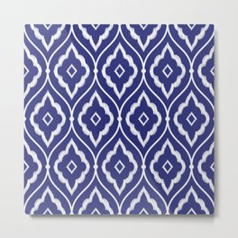 Embroidery vintage pattern illustration with porcelain indigo blue and white Metal Print