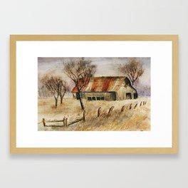 rusted barn Framed Art Print