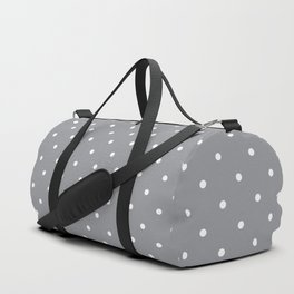 Small White Polka Dots with Grey Background Duffle Bag