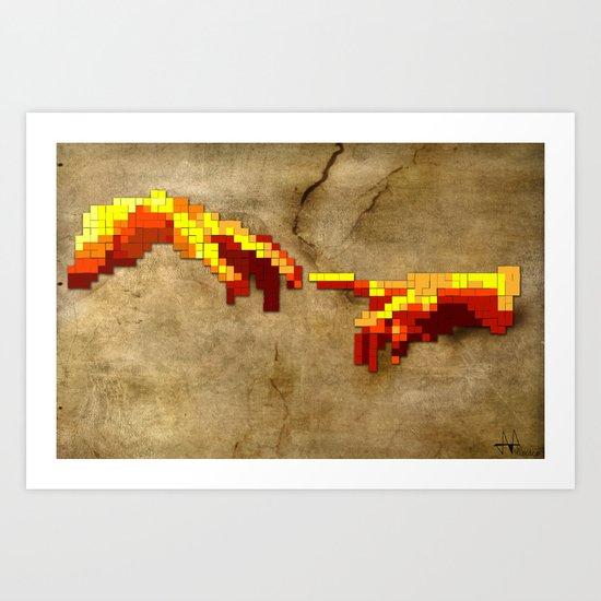 Michelangelo hands. Pixelation Art Print