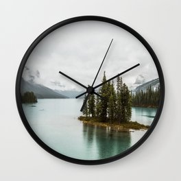 Emerald Spirit Island | Landscape Photography | Maligne Lake | Jasper Alberta Wall Clock