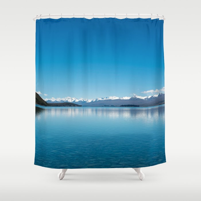 Blue Line Landscape Shower Curtain