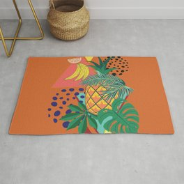 Geometric pineapple with tropical leaves and fruits retro design Rug