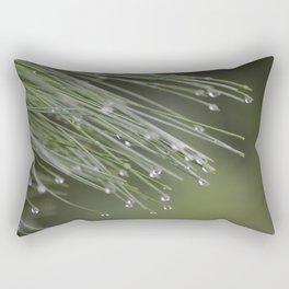 Raindrops on Pine Tree Macro Nature Photography - Anticipation Rectangular Pillow
