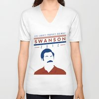 swanson V-neck T-shirts featuring Swanson 2012 by Clarke Hall