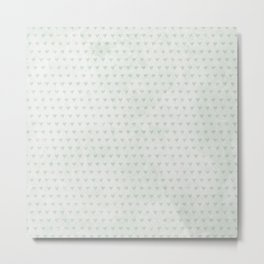 Shabby Mint and White Hearts Pattern Metal Print
