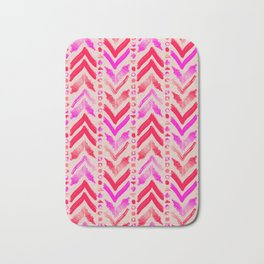 Tribal Scribble Kilim in Neon Coral + Neutral Bath Mat