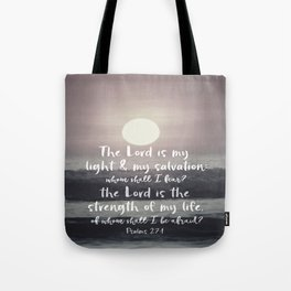 Ocean Sunrise with Psalms Light Salvation Bible Verse Tote Bag