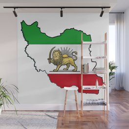 Iran Map with Iranian Flag Wall Mural
