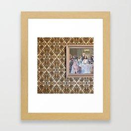 Estate Sale Last Supper: #jesus #vintagewallpaper #pattern Framed Art Print