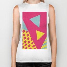 Pink Turquoise Geometric Pattern in Pop Art, Retro, 80s Style Biker Tank