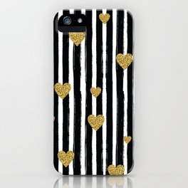 Gold Glitter Hearts Black and White Stripes iPhone Case