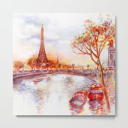 Paris in Sunset Metal Print