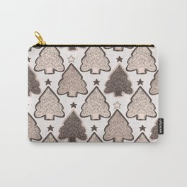 Winter Rustic Christmas Tree Lino Cut Texture Carry-All Pouch