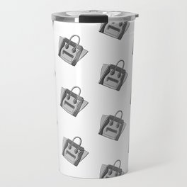 Grey Monotone Neutral Céline Vibes High Fashion Purse Illustration Travel Mug