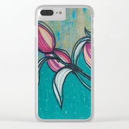 rosa y turquesa Clear iPhone Case