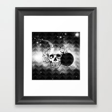 bw space skull  Framed Art Print