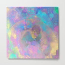 PLAY TAG WITH A SNAKE, a psychedelic art piece of a great escape through space Metal Print