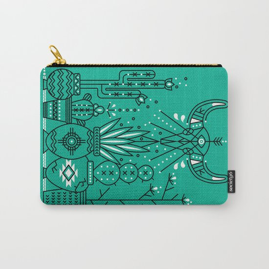 Santa Fe Garden – Turquoise & Black Carry-All Pouch