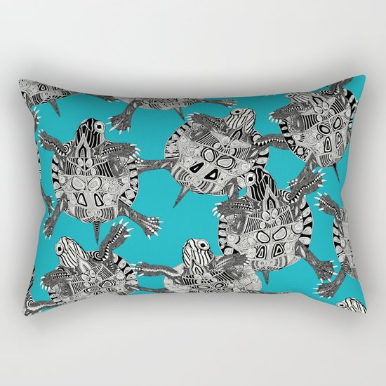 turtle party surf blue Rectangular Pillow