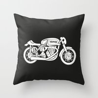 cafe racer Throw Pillows featuring Norton Model 30 - Cafe Racer series #2 by Daniel Feldt