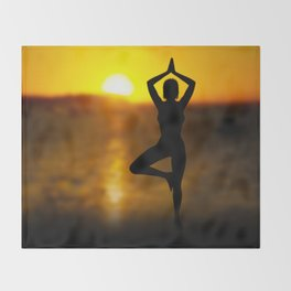 Yoga Female by the Ocean at Sunset Throw Blanket