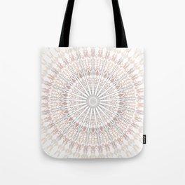 Beige White Mandala Tote Bag