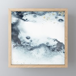 Blue marbling Framed Mini Art Print