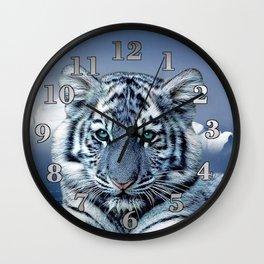 Blue White Tiger Wall Clock