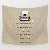 typewriter Wall Tapestries featuring Typewriter by Word Quirk
